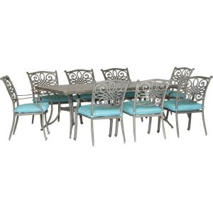 "Traditions - 84"" 9 Piece Cast Dining Set with 8 Dining Chairs"