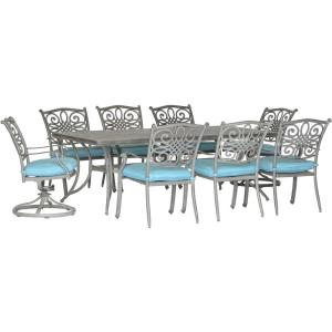 "Traditions - 84"" 9 Piece Cast Dining Set with 6 Dining Chairs and 2 Swivel Rockers"