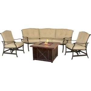 """Traditions - 97.64"""" 4-Piece Durastone Fire Pit Seating Set"""