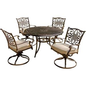 """Traditions - 48"""" 5-Piece Dining Set with Swivel Rocker"""