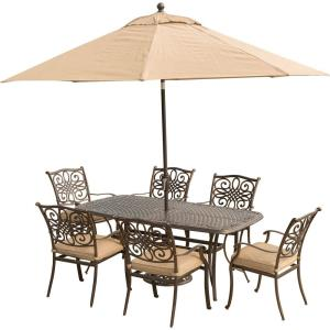 Traditions - 72 Inch 7 Piece Dining Set with 6 Dining Chairs with Umbrella Base