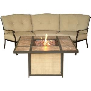 """Traditions - 97.64"""" 2-Piece Lounge Set with Tile-Top Fire Pit"""