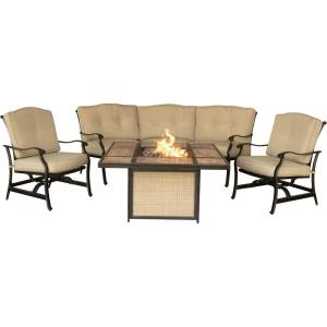 """Traditions - 44.88"""" 4-Piece Outdoor Lounge with Tiled Top Fire Pit"""