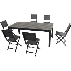 """Tucson - 78"""" 7 Piece Dining Set with 6 Aluminum Sling Folding Chairs"""