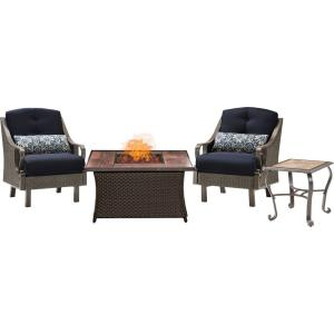 "Ventura - 43.82"" 3 Piece Fire Pit Set with Wood Grain Tile Top"