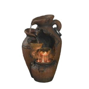 "25"" Old Fashion Pot Outdoor Fountain with LED Light"