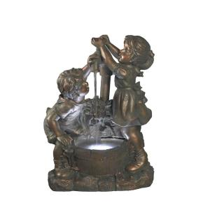 "25"" Boy and Girl Water Fountain without Light"