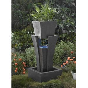 "35.4"" Raining Water Fountain with Planter and LED Light"
