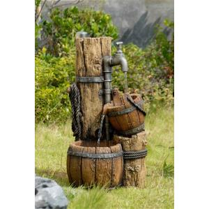 "26.8"" Wood Cask Fountain without Light"