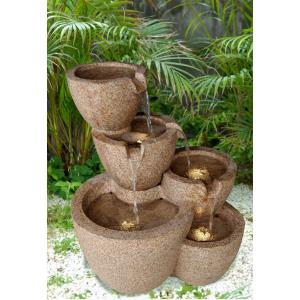 "23.4"" Muiti Pots Outdoor/indoor Water Fountain with LED Light"