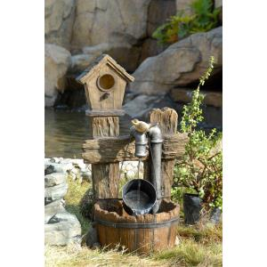 "28.9"" Bird House Outdoor Water Fountain"