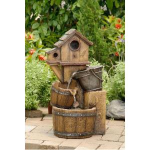 "25.8"" Bird House Outdoor Water Fountain without Light"