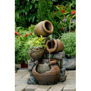 "23.6"" Multi Pots Outdoor Water Fountain with Flower Pot"