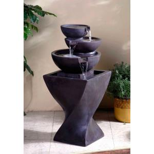 "32.5"" Modern Tier Bowls Indoor Water Fountain"