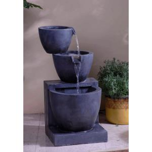 "29.7"" Modern Tier Bowls Indoor/Outdoor Water Fountain"