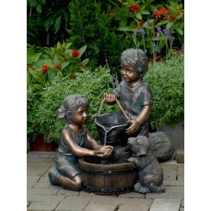 "21.9"" Two Kids And Dog Outdoor/Indoor Water Fountain"