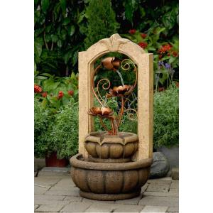 "26.5"" Classical Outdoor/Indoor Water Fountain with Metal Flower"