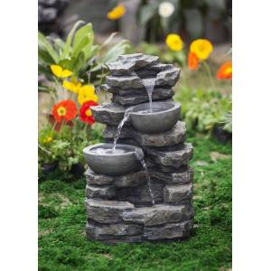 "23.6"" Rock and Pot Waterfall Water Fountain without Light"