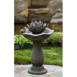 "26.8"" Lotus Flower and Frog Tiers Water Fountain"