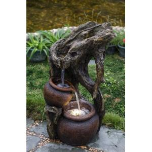 "27.4"" Tree Trunk and Urns Water Fountain with LED Light"