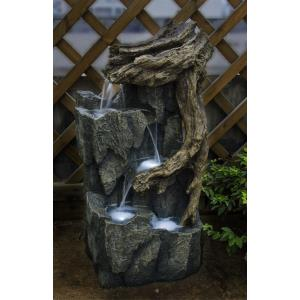 "33"" Tree Trunk and Rocks fountain with LED Light"