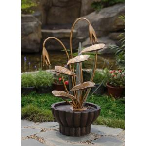 "33.9"" Metal Leaves Water Fountain"