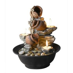 "11"" Tavolo Luci Mini Pot Tabletop Fountain with Candle"
