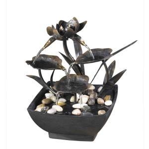"11"" Cadono Metal Leaves Tabletop Fountain"
