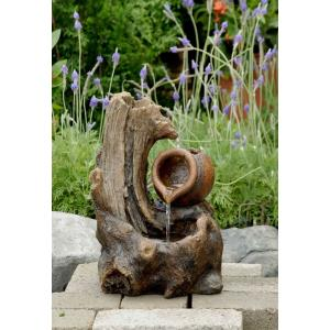 "13.2"" Tabletop Wood Stump Fountain"