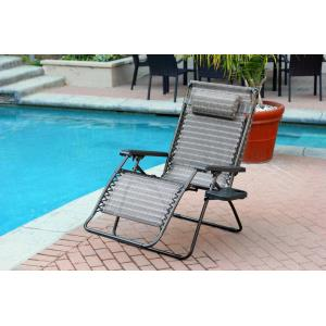 44.5 Inch Oversized Zero Gravity Chair with Sunshade and Drink Tray (Set of 2)