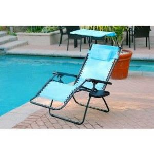 "44.5"" Oversized Zero Gravity Chair with Sunshade and Drink Tray"