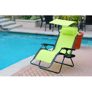 44.5 Inch Oversized Zero Gravity Chair with Sunshade and Drink Tray