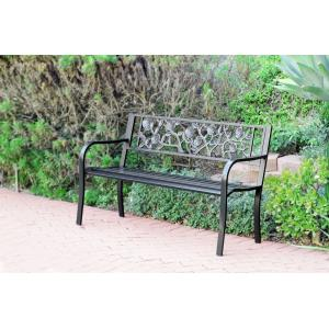 50 Inch Flowers Curved BackPark Bench