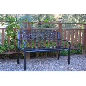 "50"" Flowers and Bird Curved Back Park Bench"