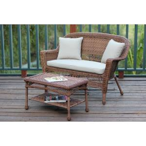 "51"" Patio Love Seat and Coffee Table Set with Cushion"