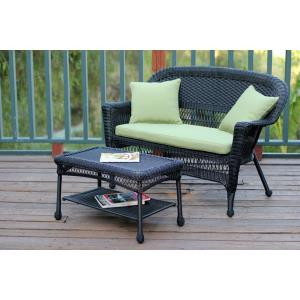51 Inch Patio Love Seat and Coffee Table Set with Cushion