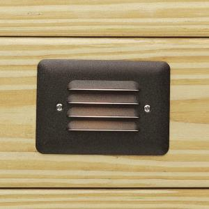 0.86W 1 LED Louvered Mini Step Light - with Utilitarian inspirations - 3.5 inches tall by 5 inches wide