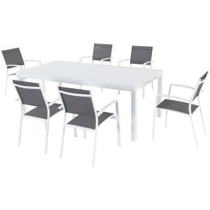 "Harper - 40"" x 118"" 7-Piece Outdoor Dining Set with 6 Sling Chairs and Expandable Dining Table"