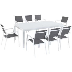 "Harper - 40"" x 118"" 9-Piece Outdoor Dining Set with 8 Sling Chairs and Expandable Dining Table"