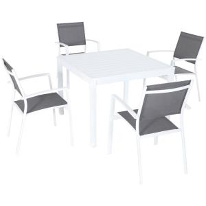 "Harper - 38"" 5-Piece Outdoor Dining Set with 4 Sling Arm Chairs and Square Dining Table"
