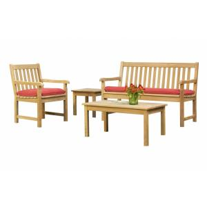 Classic - 35 Inch 4-Piece Table and Bench Chat Set with Cushions