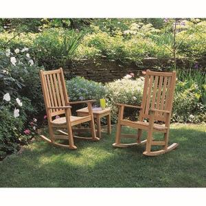 Franklin - 44 Inch 3-Piece End Table and Rocking Chair Chat Set with No Cushion