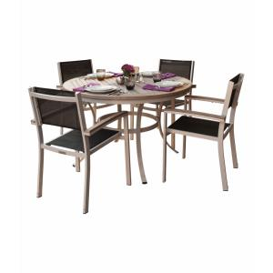 Travira - 47 Inch 5-Piece Round Table and Sling Chair Dining Set