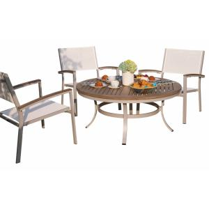Travira - 47 Inch 5-Piece Round Table and Sling Chair Chat Set