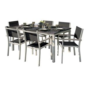 Travira - 63x40 Inch 7-Piece Table and Sling Chair Dining Set