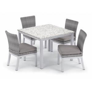 Travira and Argento - 40 Inch 5-Piece Dining Table and Argento Side Chair Set with Cushions