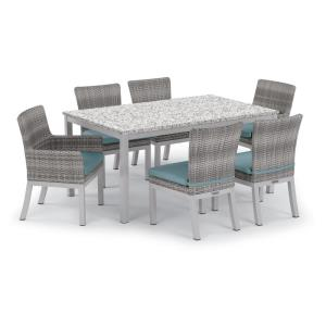 Travira and Argento - 63 Inchx40 Inch 7-Piece Table and Argento Arm and Side Chair Set with Cushions