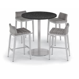 "Travira - 5-Piece 36"" Bar Table and Argento Bar Stool Set"
