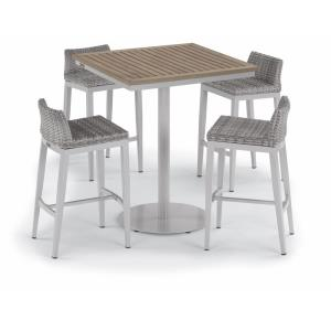 Travira and Argento - 36 Inch 5-Piece Square Bar Table and Argento Bar Stool Set