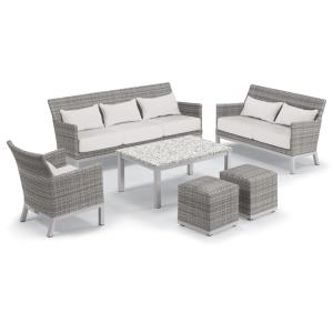 Argento and Travira - 75.5 Inch 6-Piece Lounge with Sofa, Loveseat and Club Chair with Lumbar Pillows, Poufs and Travira Table Set